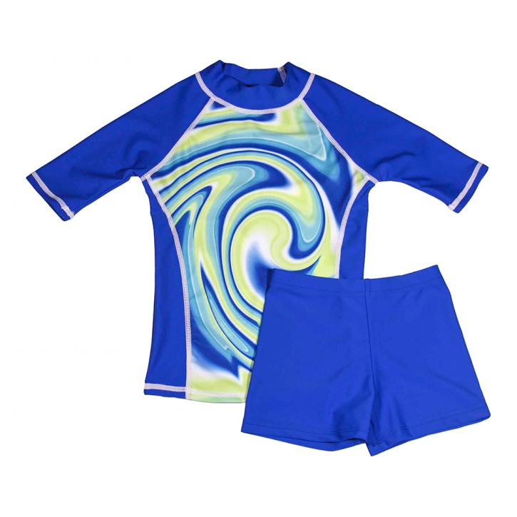 Blue Swirl Swim Shirt and Short Shorts Set
